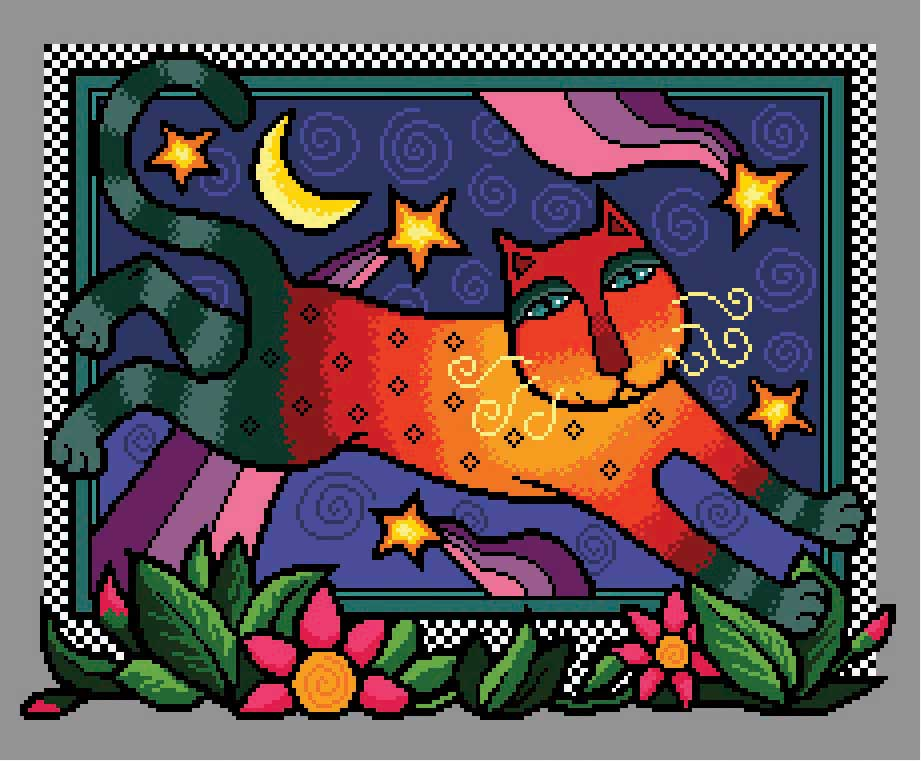 Colourful Night Cat from Cross Stitch Gold Magazine. Cross stitch chart design by Vivienne Powers PDF £6.