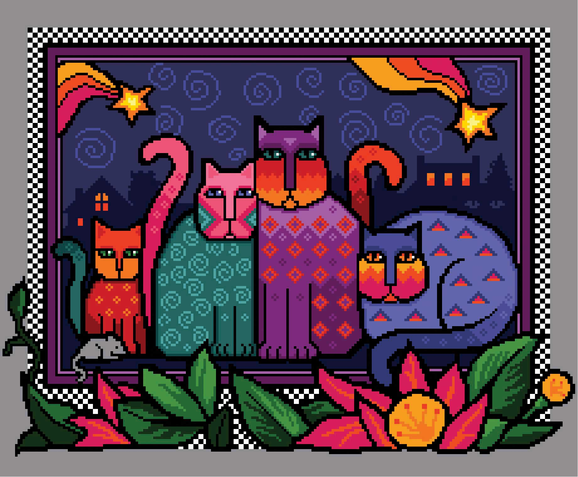 Midnight Moggies from Cross Stitch Gold Magazine. Cross stitch chart design by Vivienne Powers PDF £6.