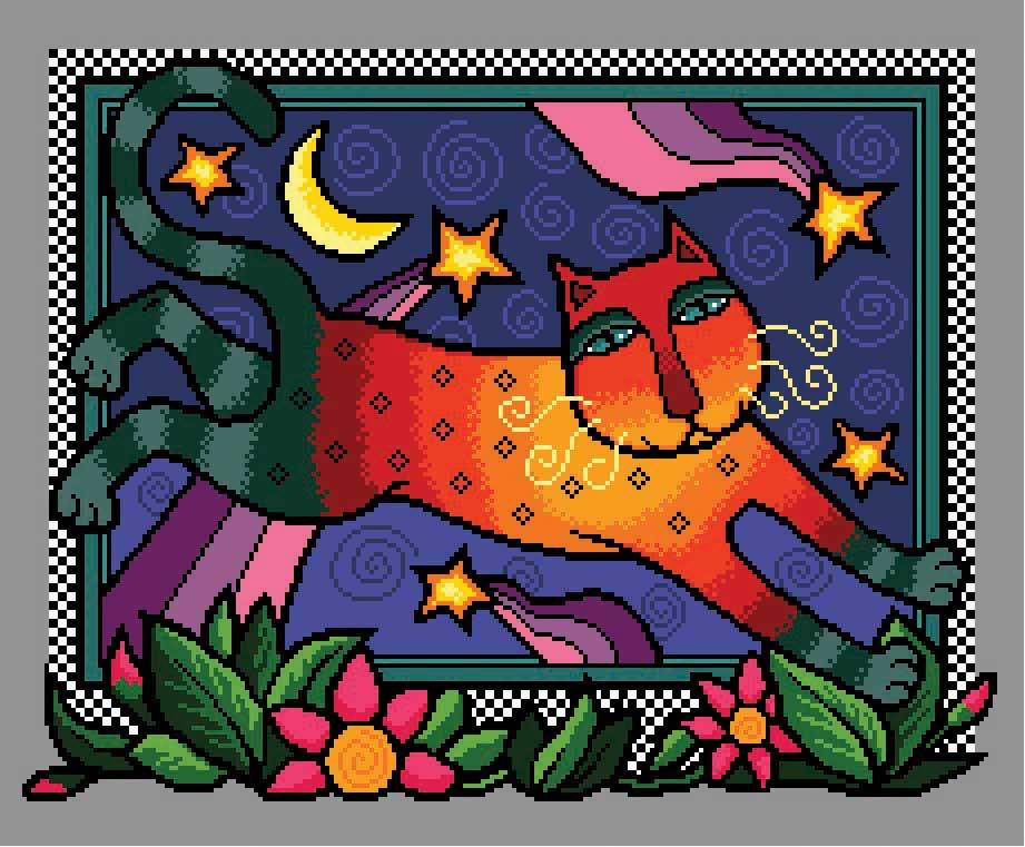 Colourful Night Cat from Cross Stitch Gold Magazine. Cross stitch chart design by Vivienne Powers PDF £6.