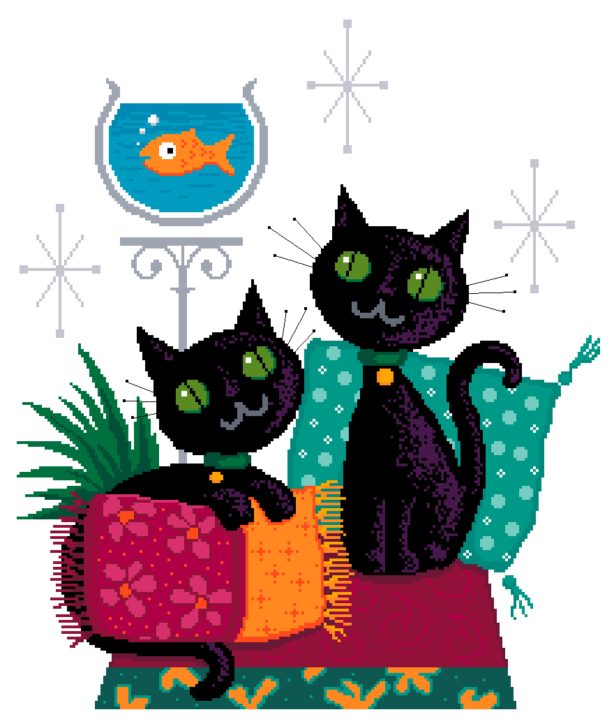 Parlour kittens. Cross stitch chart design by Vivienne Powers PDF £6.